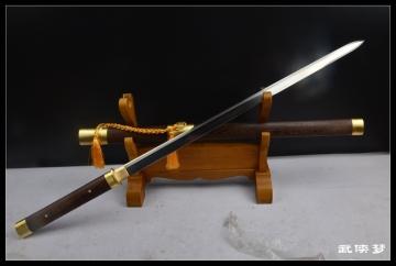 手锻钢素装诸刃唐刀剑 花纹钢 烧刃唐刀