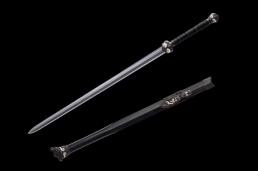 扭转纹烧刃鎏金银八面饕餮剑 龙泉宝剑 花纹钢烧刃