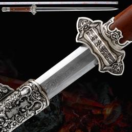 酸枝木六面唐剑|龙泉宝剑|花纹钢